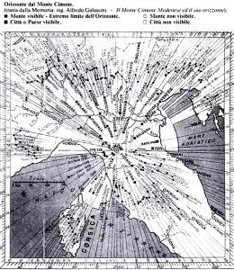 Mappa del grande orizzonte, visibile all'interno della stazione militare, da cui è stato tratto il disegno sul terrazzino